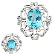Clearance Sale- ver natural blue topaz oval brooch pendant jewelry d5560
