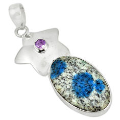 Clearance Sale- 925 silver natural k2 blue (azurite in quartz) purple amethyst pendant d5703