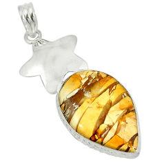 Clearance Sale- Natural yellow brecciated mookaite (australian jasper) 925 silver pendant d5711