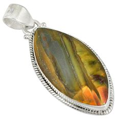 Clearance Sale- 925 sterling silver natural brown cherry creek jasper pendant jewelry d5772