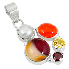 Clearance Sale- 925 silver natural brown mookaite cornelian (carnelian) pearl pendant d5817