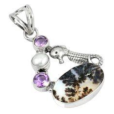 Clearance Sale- ussian dendritic agate pearl 925 silver seahorse pendant d5847