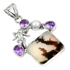 Scenic russian dendritic agate pearl 925 silver cupid angel wings pendant d5849