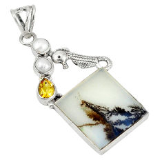 Clearance Sale- Natural scenic russian dendritic agate pearl 925 silver seahorse pendant d5856