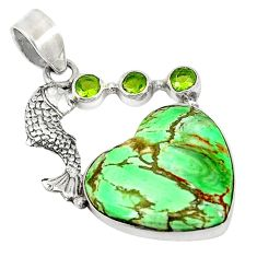 Clearance Sale- riscite peridot 925 sterling silver fish pendant jewelry d5858