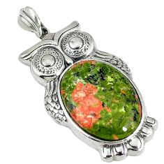 925 sterling silver natural green unakite oval owl pendant jewelry d5890