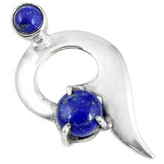 Natural blue lapis lazuli round 925 sterling silver pendant jewelry d6088