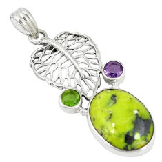 Clearance Sale- Yellow lizardite (meditation stone) 925 silver deltoid leaf pendant d6121
