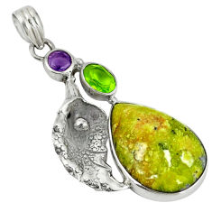 Clearance Sale- 925 silver yellow lizardite (meditation stone) deltoid leaf pendant d6125