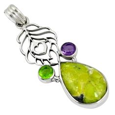 Clearance Sale- Natural yellow lizardite (meditation stone) amethyst 925 silver pendant d6127