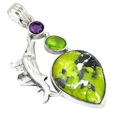 Clearance Sale- 925 silver natural yellow lizardite (meditation stone) dolphin pendant d6134