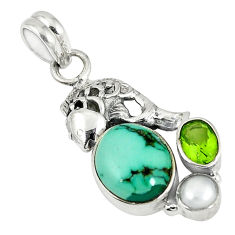 Clearance Sale- rquoise tibetan peridot pearl 925 sterling silver pendant d6184