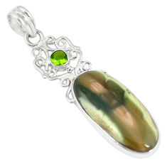 Clearance Sale- Natural green imperial jasper peridot 925 sterling silver pendant jewelry d6207