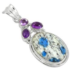 Natural k2 blue (azurite in quartz) purple amethyst 925 silver pendant d6210