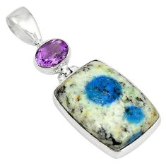 Clearance Sale- Natural k2 blue (azurite in quartz) purple amethyst 925 silver pendant d6216