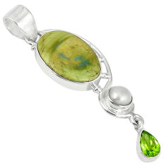 Clearance Sale- Natural green imperial jasper peridot pearl 925 sterling silver pendant d6219