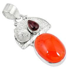 Clearance Sale- al orange cornelian (carnelian) red garnet pendant jewelry d6255