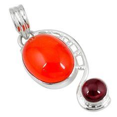 Clearance Sale- Natural orange cornelian (carnelian) red garnet 925 silver pendant d6257