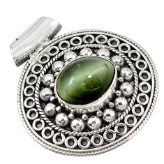 Green cats eye oval shape 925 sterling silver pendant jewelry d7231