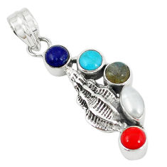Clearance Sale- Natural white pearl arizona mohave turquoise coral 925 silver pendant d7305