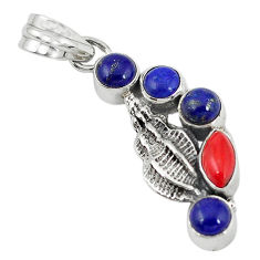 Clearance Sale- apis lazuli round 925 sterling silver pendant jewelry d7316