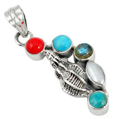 Clearance Sale- al white pearl arizona mohave turquoise pearl pendant d7317