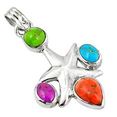 Clearance Sale- Multi color copper turquoise 925 sterling silver pendant jewelry d7318