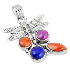 Clearance Sale- Southwestern multi color copper turquoise 925 silver dragonfly pendant d7337
