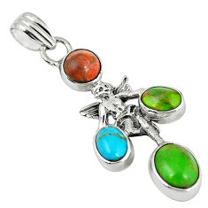 Clearance Sale- Southwestern copper turquoise 925 silver cupid angel wings pendant d7345