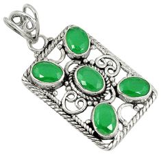 Clearance Sale- Green emerald quartz 925 sterling silver pendant jewelry d7362