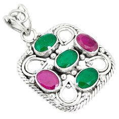 Clearance Sale- Green emerald ruby quartz oval 925 sterling silver pendant jewelry d7364