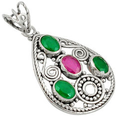 Clearance Sale- Green emerald ruby quartz 925 sterling silver pendant jewelry d7366