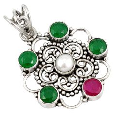 Clearance Sale- Green emerald red ruby quartz pearl 925 sterling silver pendant d7373