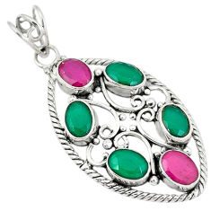 Clearance Sale- Green emerald ruby quartz 925 sterling silver pendant jewelry d7376