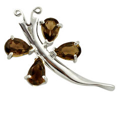 Clearance Sale- ver brown smoky topaz pear shape pendant jewelry d7417