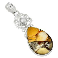 Clearance Sale- Natural yellow brecciated mookaite (australian jasper) 925 silver pendant d7445