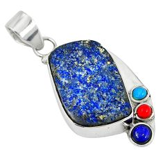 Natural blue lapis lazuli druzy turquoise coral 925 silver pendant jewelry d7447