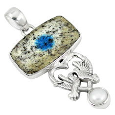Clearance Sale- Natural k2 blue (azurite in quartz) pearl 925 silver love birds pendant d7467