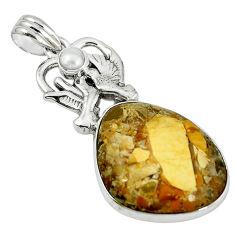 Clearance Sale- Natural yellow brecciated mookaite (australian jasper) 925 silver pendant d7468