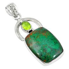 Clearance Sale- cuprite chrysocolla) green peridot 925 silver pendant d7471