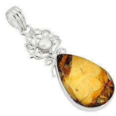 Clearance Sale- Natural yellow brecciated mookaite (australian jasper) 925 silver pendant d7492