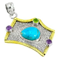 Clearance Sale- 925 silver blue arizona mohave turquoise peridot 14k gold two tone pendant d7504