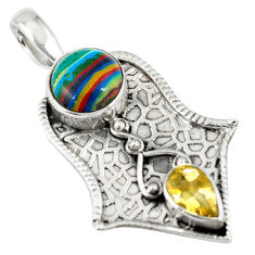 Clearance Sale- 925 sterling silver natural multi color rainbow calsilica citrine pendant d7556