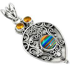Clearance Sale- 925 silver natural multi color rainbow calsilica citrine pendant jewelry d7568