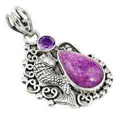 Natural purple purpurite amethyst 925 silver seahorse pendant jewelry d7576