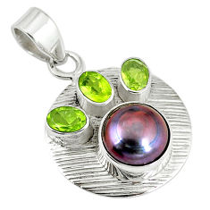 Clearance Sale-  pearl green peridot 925 sterling silver pendant jewelry d7582