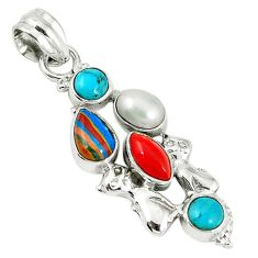Clearance Sale- Natural multi color rainbow calsilica pearl coral 925 silver pendant d7596