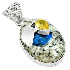 Clearance Sale- 925 silver natural k2 blue (azurite in quartz) yellow citrine pendant d7600