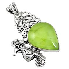 Clearance Sale- Natural green prehnite 925 sterling silver seahorse pendant jewelry d7617