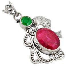 Clearance Sale- ver red ruby green emerald quartz fish pendant d7624
